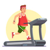 Obese young man running on treadmill. Working out in sweat to get rid of fat belly. Flat style modern vector illustration Stock Photography