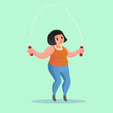 Obese young woman Jump Rope Workout Funny cartoon  illustration. Obese young woman Jump Rope Workout cartoon  illustration Stock Photo