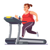 Obese young woman running on treadmill. Girl working out in sweat to get rid of fat belly. Flat style modern vector illustration Royalty Free Stock Photography