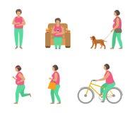 Obesità di combattimento con gli sport Cane di camminata della donna grassa, andare in bicicletta, pareggiante illustrazione di stock