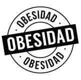 Obesity stamp on white. Obesity bl ack stamp in spanish language. Sign, label, sticker royalty free illustration
