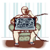 Obesity. Concept of obesity caused by eating fast food Royalty Free Stock Photography