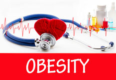 Obesity. The diagnosis of obesity. Phonendoscope and vaccine with drugs. Medical concept Stock Photos