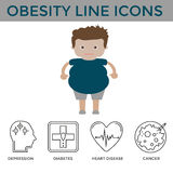 Obesity disease icons Stock Images