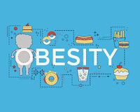 Obesity flat design with icons and lettering Royalty Free Stock Images