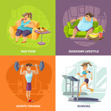 Obesity And Health Concept Icons Set. With sedentary lifestyle and sports training symbols cartoon isolated vector illustration Royalty Free Stock Photography