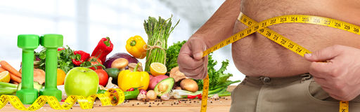 Obesity and healthy food. Stock Photo