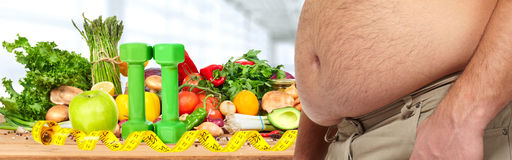 Obesity and healthy food Stock Photo