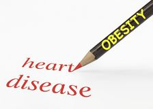 Obesity heart disease. Idea of obesity leads to heart disease using a pencil analogy Stock Photography