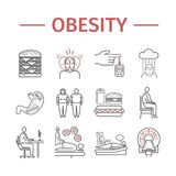 Obesity line icon Infographics. Vector sign for web graphics. Obesity line icon. Vector sign for web graphics Stock Image