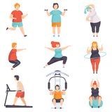Obesity people wearing sports uniform doing fitness exercises set, fat men and women doing sports, weight loss program. Concept vector Illustration isolated on stock illustration