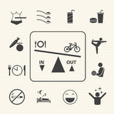 Obesity related diseases and prevention. Vector icons set Royalty Free Stock Photo