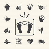 Obesity related diseases and prevention. Vector icons set Stock Photos