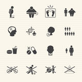 Obesity related diseases and prevention vector icons set Stock Photos