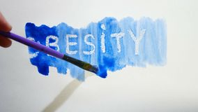 Obesity text inscription watercolor artist paints blot isolated on white background art video. Obesity text inscription watercolor artist paints blot isolated on stock video footage