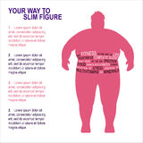 Obesity Vector illustration. Poster template Fighting obesity, instructions for weight loss Silhouette of a fat man with text composition on white background Stock Images