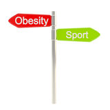 Obesity versus sport as road sign plate Royalty Free Stock Photography