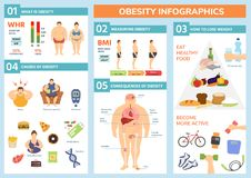 Obesity weight loss and fat people health problems infographic healthy elements exercise for good health with food. Vector illustration. Wellness body Stock Photography