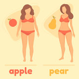 Obesity woman body type, apple and pear. Vector figure overweight Royalty Free Stock Photography