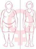 Obesity and Women. Illustration of an obese woman side by side a woman who is physically fit.(Gender symbol for female in the background Royalty Free Stock Images