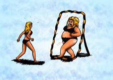 Obeso esile spaventato dello specchio della donna (2008) Fotografie Stock