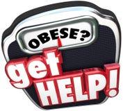 Obeso obtenha a escala da ajuda perdem o peso Fotos de Stock Royalty Free