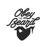 Obey the beard typography print. Vector vintage illustration. Royalty Free Stock Photo