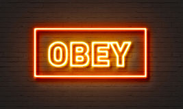Obey neon sign on brick wall background. Royalty Free Stock Photography