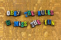 Obey rules miss fun communication stock photos