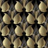 Obfitolistny kwiecisty złota 3d wektorowy bezszwowy wzór Rocznika ornamentacyjny luksusowy tło Textured nawierzchniowy elegancja  royalty ilustracja