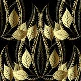 Obfitolistny kwiecisty złota 3d wektorowy bezszwowy wzór Rocznika ornamentacyjny luksusowy tło Textured nawierzchniowy elegancja  ilustracja wektor