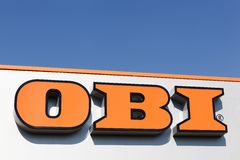Obi sign on a wall of a store Royalty Free Stock Photo