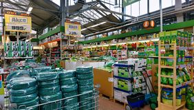 OBI store interior with garden goods Royalty Free Stock Photos