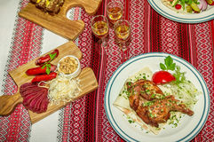 obiad podano do stołu Zdjęcia Stock