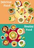 Obiadowa ikona ustawiająca z mięsem, owoce morza i zupnymi naczyniami, Obrazy Royalty Free