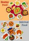 Obiadowa menu ikona ustawiająca z głównymi naczyniami i deserem royalty ilustracja