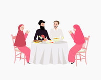 Obiadowa muzułmańska ramadhan iftar kobieta i mężczyzna cieszymy się karmowego przerwy zamocowanie ilustracji