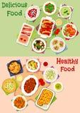 Obiadowa posiłek ikona ustawiająca dla zdrowego karmowego projekta ilustracji