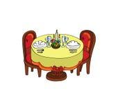obiadowy romantyczny stół royalty ilustracja