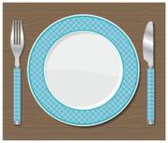 Obiadowy talerz, nóż i rozwidlenie. Fotografia Royalty Free
