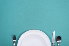 Obiadowy talerz z kopii przestrzenią fotografia stock