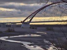 Obialluviaal gebied met Bugrinsky-brug royalty-vrije stock fotografie
