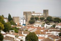 Obidos城堡的看法 免版税图库摄影