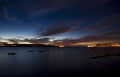Obidos盐水湖在晚上 免版税库存图片