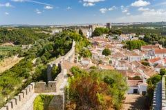 Obidos,葡萄牙被加强的中世纪村庄  库存图片