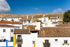 Obidos,葡萄牙被加强的中世纪村庄  库存照片