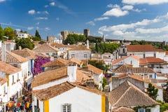 Obidos,葡萄牙被加强的中世纪村庄  免版税库存照片