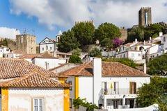 Obidos,葡萄牙被加强的中世纪村庄  图库摄影