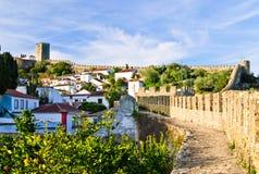 中世纪obidos葡萄牙城镇 库存照片