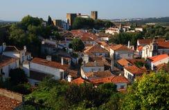 里斯本葡萄牙 Obidos美丽如画,中世纪镇  图库摄影